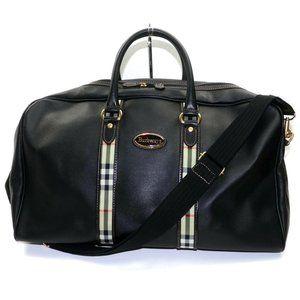 Auth Burberry Travel Bag Black Coated #6624B20
